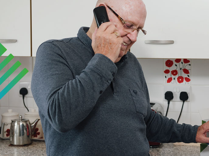 Man on the phone to Medilink Customer Services